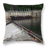 Dam Repairs  Along The Androscoggin River Throw Pillow
