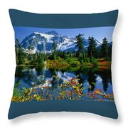 Damian Trevor - Awesome Mountain Tree Nature Landscape Throw Pillow