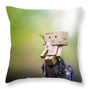 Danbo - Flower Throw Pillow by Adnan Bhatti
