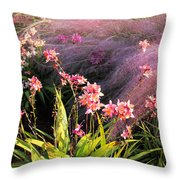 Dance Of The Orchids Throw Pillow