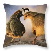 Dance Of The Quail Throw Pillow
