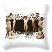 Dance Of The Seven Nudes Throw Pillow