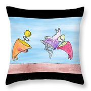 Dance Party Monsters Watercolor Throw Pillow