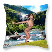 Dance To The Waterfall Throw Pillow