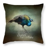 Dance To Your Own Tune - Peacock Art Throw Pillow