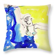 Dancer In Blue Throw Pillow