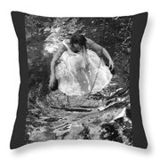 Dancer In White Dress In Shallow Water Throw Pillow