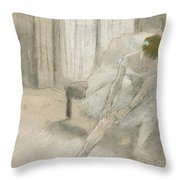 Dancer Seated, Readjusting Her Stocking Throw Pillow