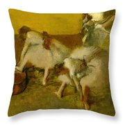 Dancers In The Green Room Throw Pillow by Edgar Degas