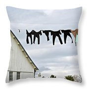 Dancing Amish Laundry Throw Pillow