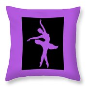 Dancing Ballerina White Silhouette Throw Pillow