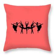 Dancing Ballerinas Silhouette Throw Pillow