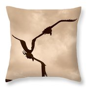 Dancing Birds Throw Pillow