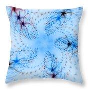 Dancing Blue Flower Star In Motion Throw Pillow