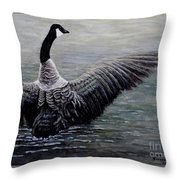 Dancing Canada Goose Throw Pillow