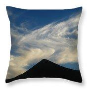 Dancing Clouds Above Volcanic Peak Throw Pillow