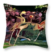 Dancing Flamingos  Throw Pillow