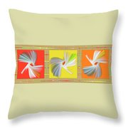 Dancing Flower Trio Throw Pillow