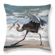 Dancing Heron #1/3 Throw Pillow