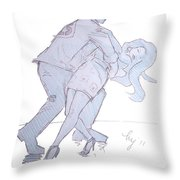 Dancing In Blue Throw Pillow