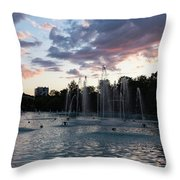 Dancing Jets And Music Sunset - Plovdiv Singing Fountains Throw Pillow