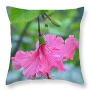 Dancing Lady Pink Hibiscus Throw Pillow
