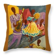 Dancing N Jammin In The Street  Abstract  Throw Pillow