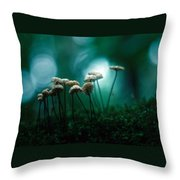 Dancing Parasol Mushrooms Throw Pillow