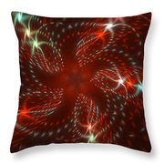 Dancing Red Flower Star In Motion Throw Pillow