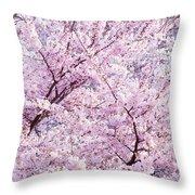 Dancing Sakura Haiku Throw Pillow