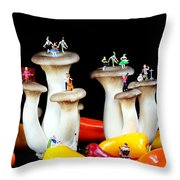 Dancing Show On Mushroom Throw Pillow