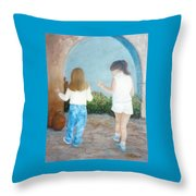 Dancing Sisters Throw Pillow