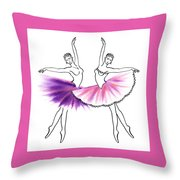 Dancing Tutus In Purple And Pink Throw Pillow