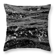 Dancing Water In Black And White Throw Pillow