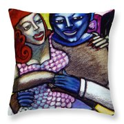 Dancing With A Blue Man Throw Pillow