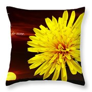 Dandelion Against Sunset With Inspirational Text Throw Pillow