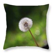 Dandelion In Green Throw Pillow