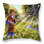 Dandelion - Make A Wish Throw Pillow by Anne Wertheim