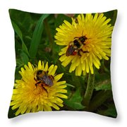 Dandelions And Bees Throw Pillow