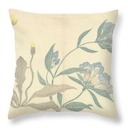Dandelions And Blue Flowers, Nakamura Hochu, 1826 Throw Pillow
