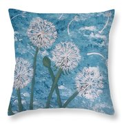 Dandelions Blowing In The Wind Throw Pillow
