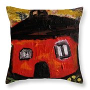 Dandelions By Red Barn By Mcw Throw Pillow