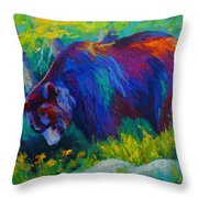 Dandelions For Dinner - Black Bear Throw Pillow