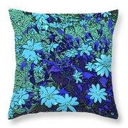 Dandy Digital Daisies In Blue Throw Pillow