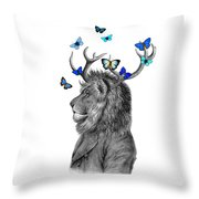 Dandy Lion With Antlers And Blue Butterflies Throw Pillow