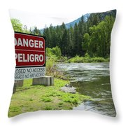 Danger Peligro Throw Pillow