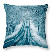 Dangerous Slippery And Icy Road Conditions Throw Pillow