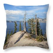 Dangerous Slope At Crater Lake Throw Pillow