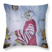 Daniel And Lion's Den Throw Pillow