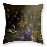 Daniel And The Lions Den Throw Pillow